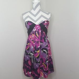 Bebe Silk Colorful Strapless Dress